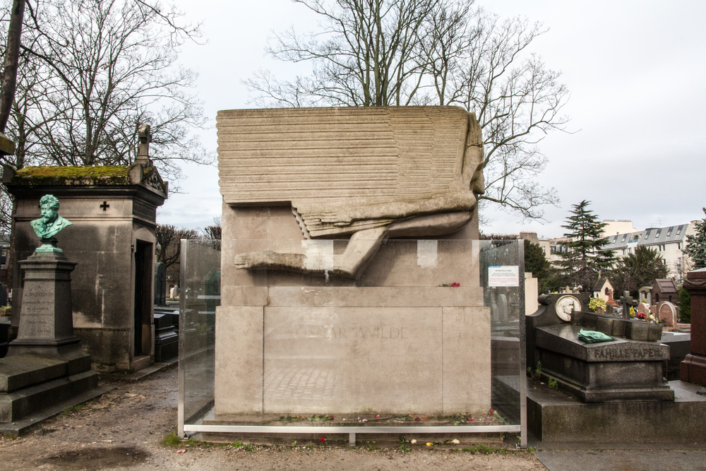 Grave of Oscar Wilde, defaced by kisses.