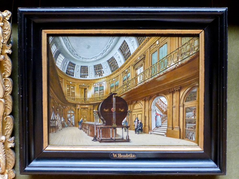 Painting of the Teylers Museum's Oval Room, previously used for demonstrations of scientific instruments.