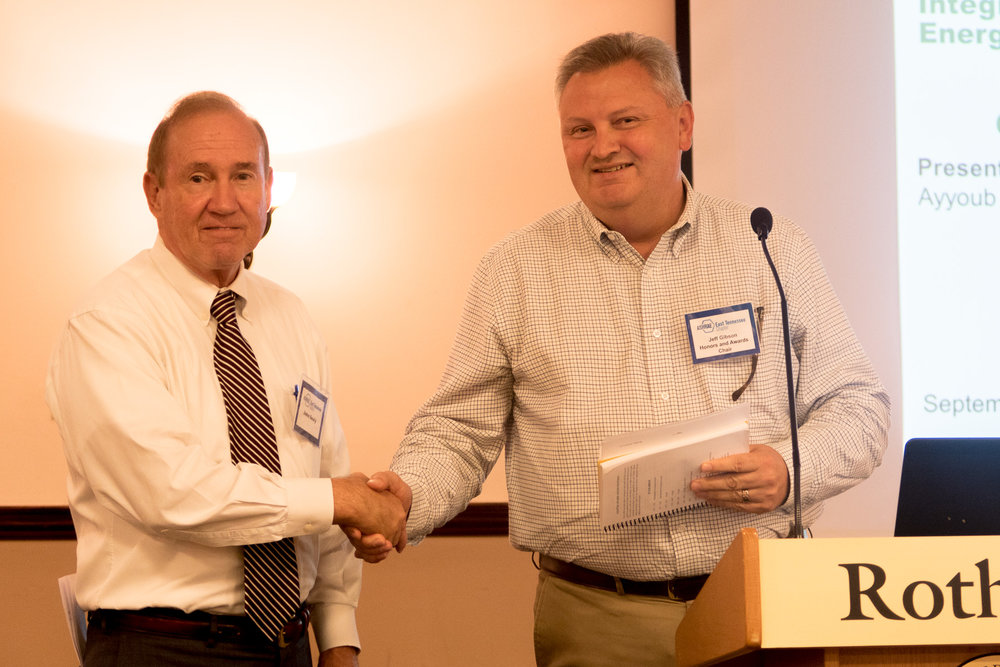 John Sealy, recognized for Regional Award of Merit by Jeff Gibson, Honors and Awards Chair
