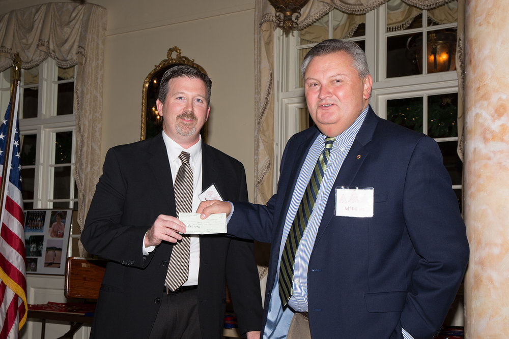 Jeff Gibson presents Jeff DeLong with a $1500.00 check for Research Promotion!