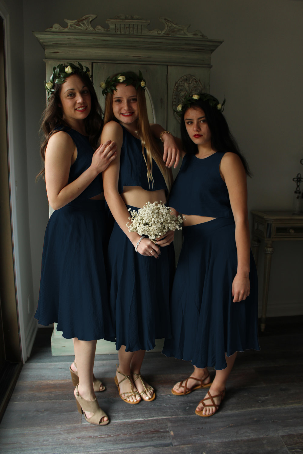 AU & Co. Custom Bridal color navy crop top and navy skirt.jpg