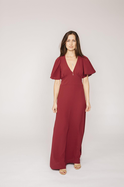 98bef04e18623 Joanne dress in burgundy maroon flutter sleeve bohemian style boho 6.