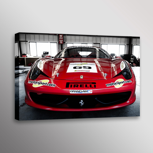Red Ferrari 458 Italia Front Sportscar Car Photo Wall Art Canvas ...