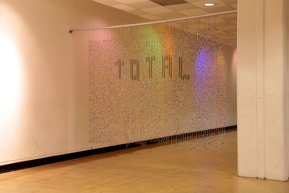 Total Collapse (2013) rave beads and twine, 14 x 8 ft