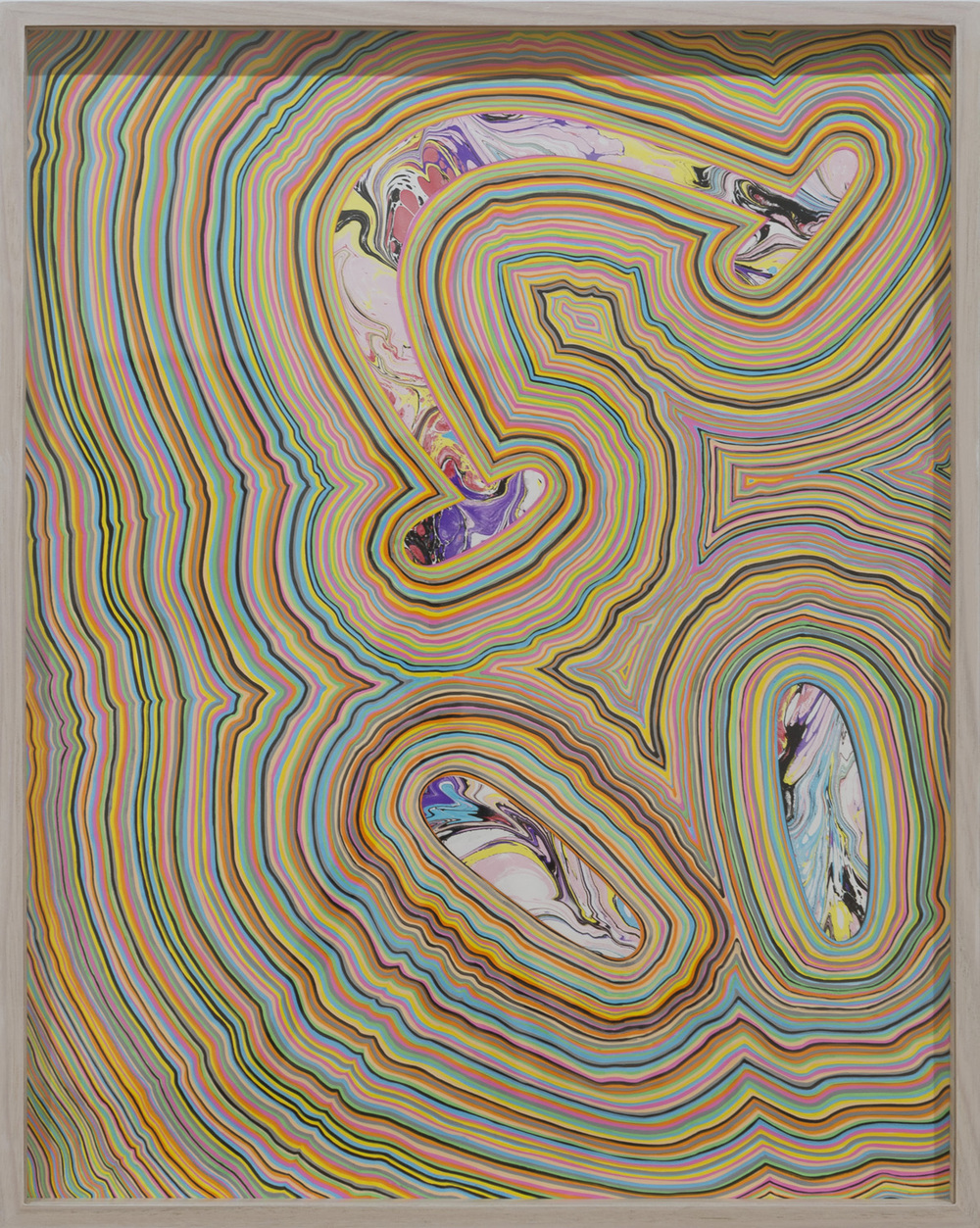 TGIF 4 (2016) marbled paper and acrylic paint pen on paper, 24 x 18 inches