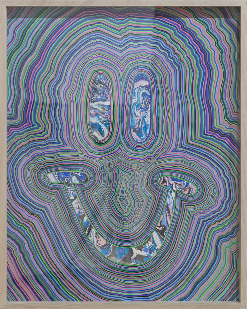 TGIF 1 (2016) marbled paper and acrylic paint pen on paper, 24 x 18 inches