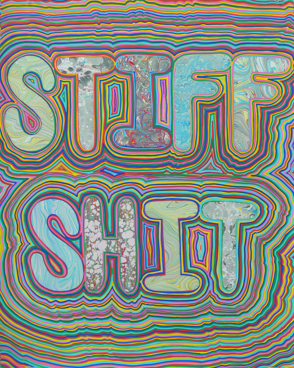 The Shits (Stiff Shit) (2015) marbled paper and acrylic paint pen on paper, 24 x 18 inches