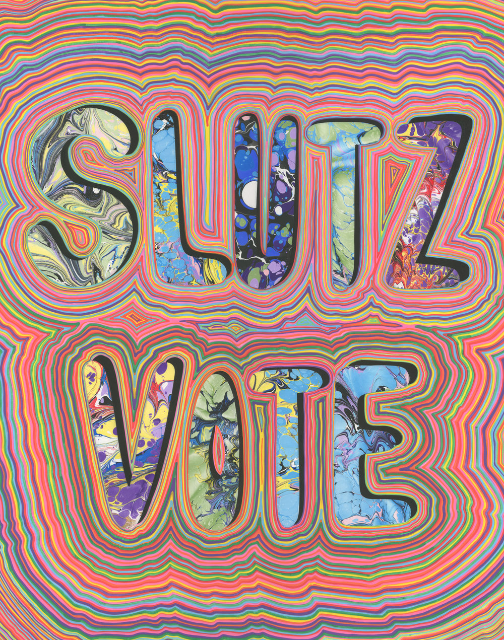 Slutz Vote (2017), marbled paper and acrylic paint pen on paper, 19 x 24 inches