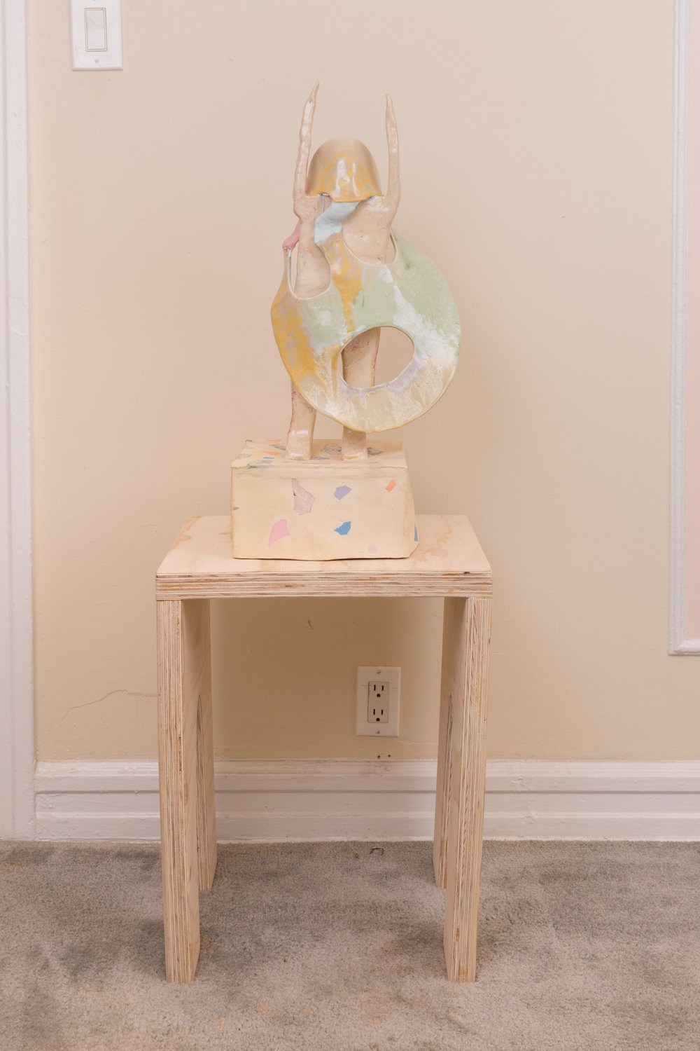 Moisture Surge (2017) crystalline glaze, magic sculpt, ceramic and tinted porcelain, 23 x 12 x 12 inches