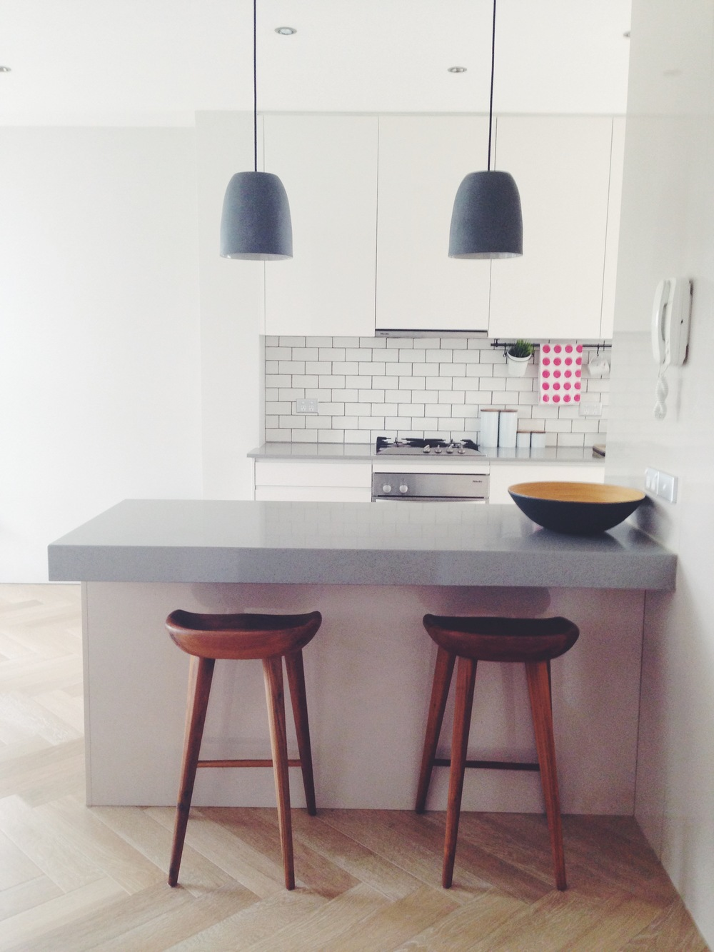 Emily's kitchen. Pendants from Mud Australia