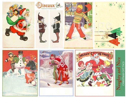 naughty and nice christmas gift tags set print your own vintage