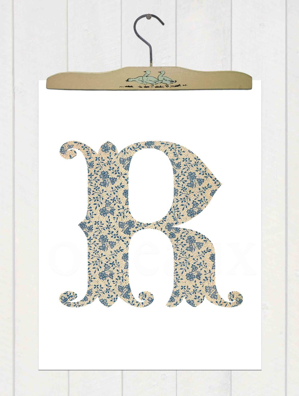 Blue Flower Initial Print