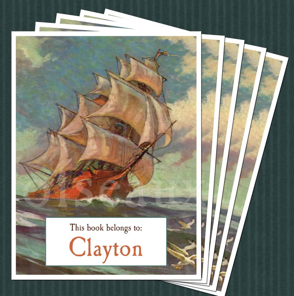 Ship At Sea Bookplates