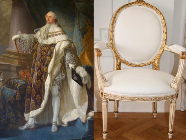 King Louis XVI and a classic Louis XVI chair