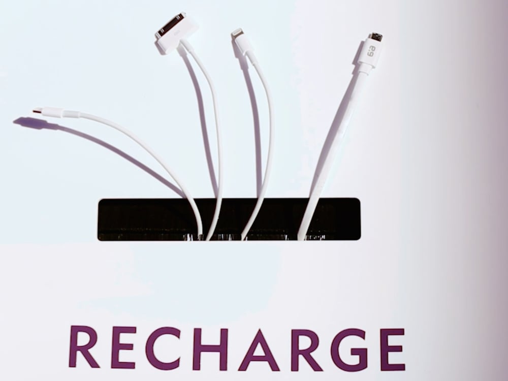 Featuring a variety of charging cables, the recharge station helped keep guests connected all day long.