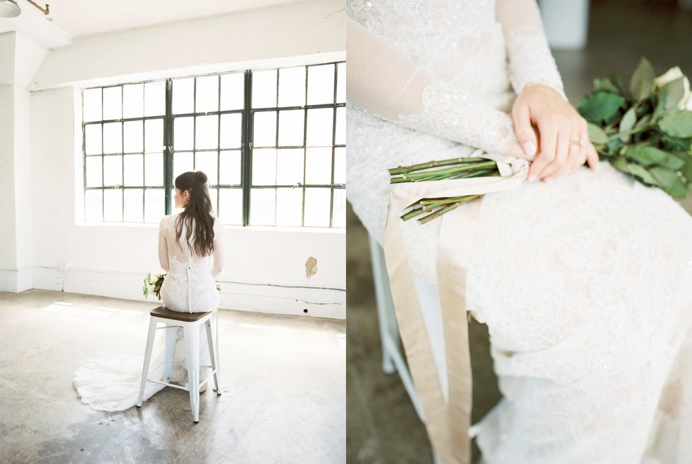 Amy's modern white studio bridal portrait session