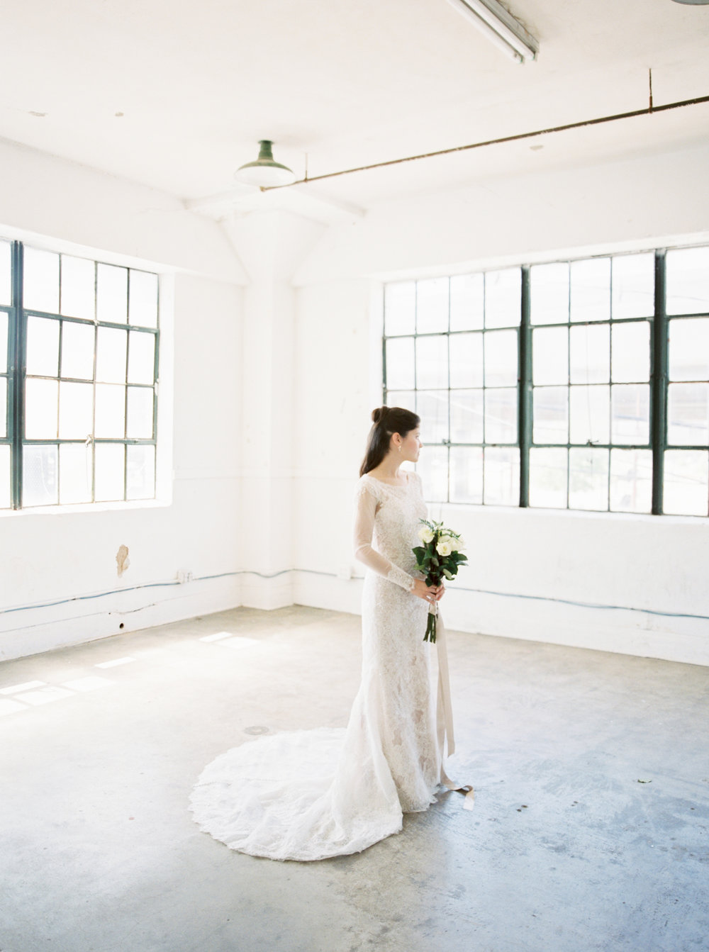 Modern white studio bridal session -