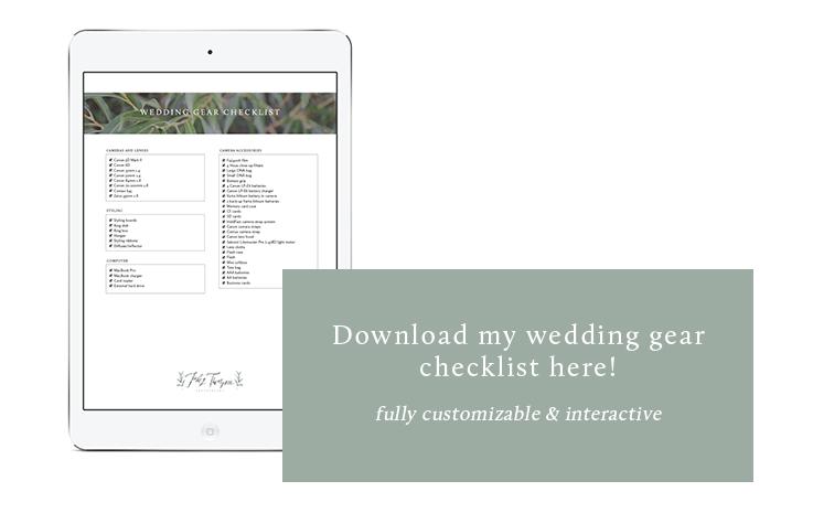 Wedding Gear Checklist