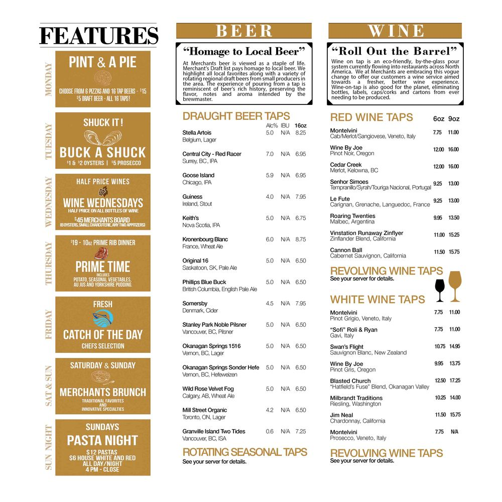 Click on image for larger view of our Daily Features and Beer/Wine Lists..