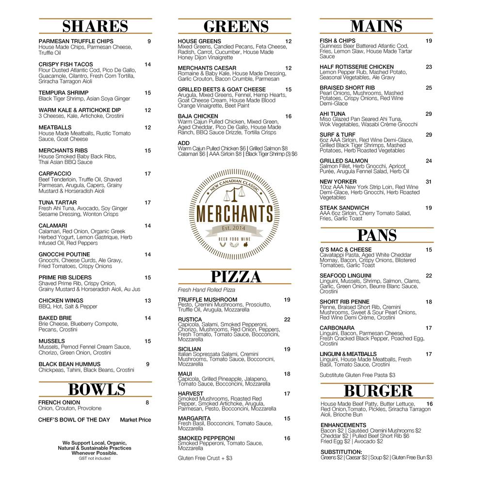 Click on image for larger view of our Evening Menu.