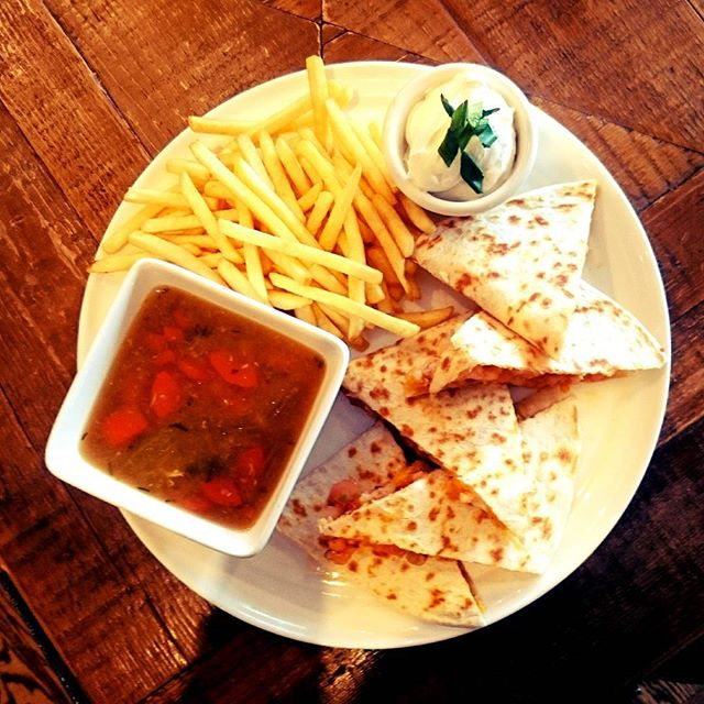 Today's lunch feature. Shrimp quesadilla with soup and fries. Come down to have some. All beers on tap are $5 all day!!! #lunchfeature #lunchyyc #quesadilla #foodie #mardaloopyyc #eatdrinkplay #merchantsyyc #cheapbeer
