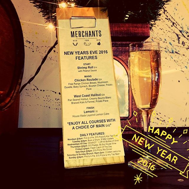 Happy New Year!!! Come celebrate with us and try some of these delicious features or anything from our regular menu. #eatdrinkplay #Merchants #mardaloopyyc #newyearsyyc #newyear #2016