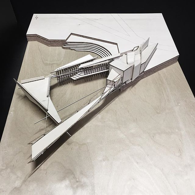 'Chiasmus', an architectural concept proposal for an Harbour Research Station. . . . . .  #architecture #model #birch #plywood #lasercut #design #bridge #concept #timber #intertwine #interdependent @domusvim