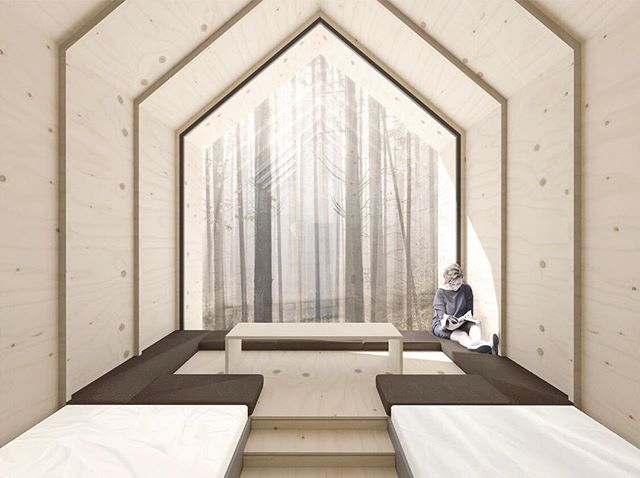 The Stone Barn Meditation Camp encourages urban dwellers to break away from the city life and retreat to the beautiful country side of Latvia. Surrounded by native Latvian birch trees, these sleeping tree houses gape out into the forest overlooking a flowing river, which in winter will shimmer from the icing surface. . . . . . #architecture #design #interiordesign #competition #architectureporn #latvia #markco #shortlist #treehouse #timber #birch #house #render #visualisation #design