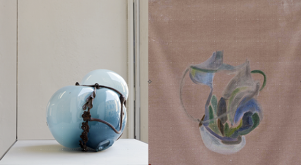 Silvia Vendramel -  Soffio#20  2014 - Vetro soffiato, metallo, mdf              Beatrice Meoni -  Rose velvet  2016 - Olio su velluto - cm 60x45 cm 180x45x45