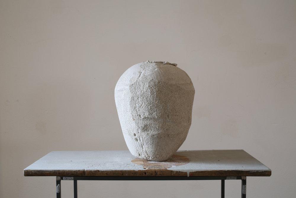 senza troppo rumore (particolare)2015 -sabbia compressa, legno e metallo - cm 118x50x30