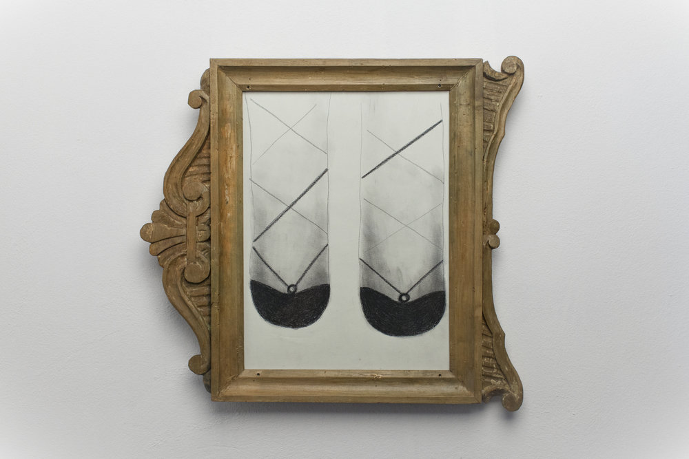 Senza terra#5  2013 - Carboncino su carta, cornice - cm 45x32x2