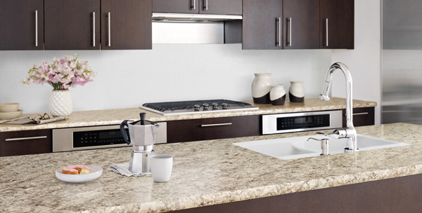 Granite Kitchen Countertop with Dark Brown Cabinets