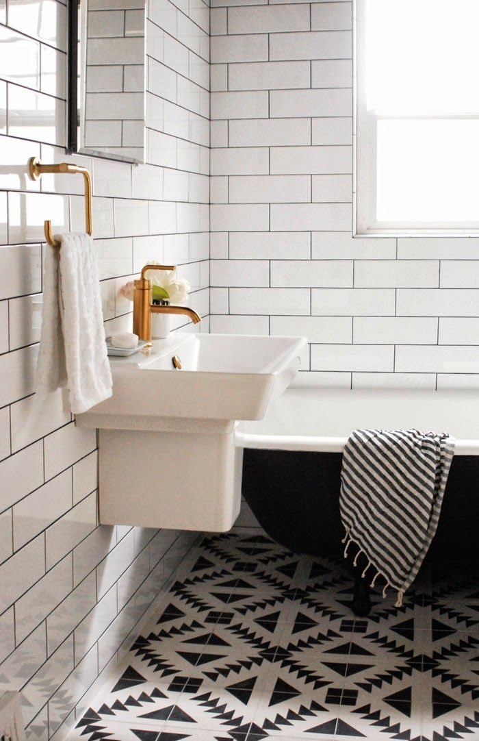 BLACK & WHITE Bathroom Floor TileClassic Kitchens & Baths