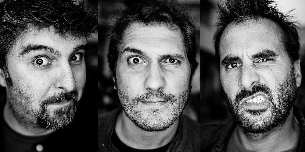 """(de derecha a izquierda) - Guillermo Gutiérrez , alias """"William"""", potente vocalista y virtuoso guitarrista, golpea junto a la indescriptible potencia de la unidad rítmica formada por los grandes amigos y compañeros en más de once álbumes:  José Miguel Gándara """"Txemi""""  -al bajo- y  Alberto Chamorro, """"Koki""""  - a la batería."""