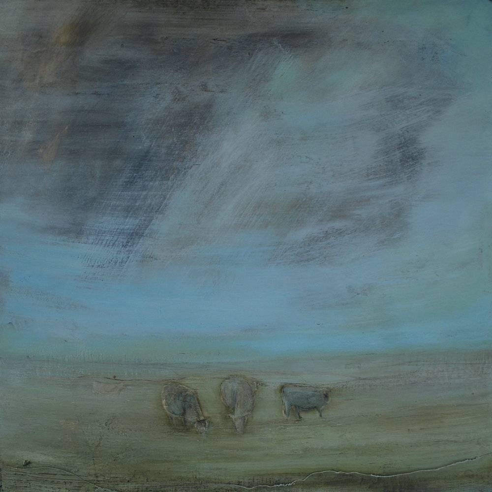 The Other Worldly Spell  80x80cm 2013  mixed media on board with wire