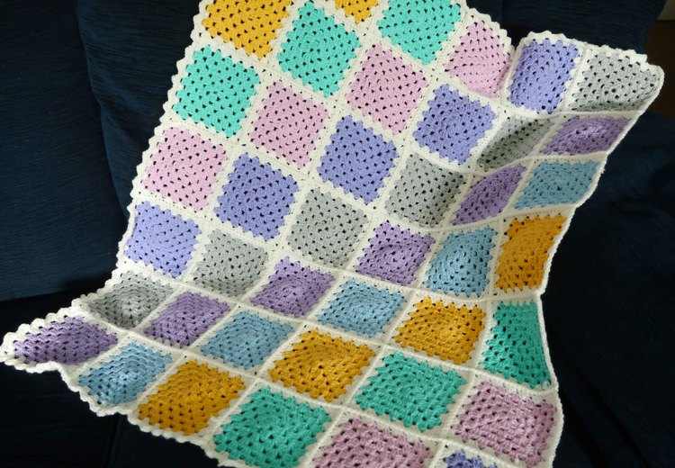 Granny Square Baby Blanket White Heather Barn
