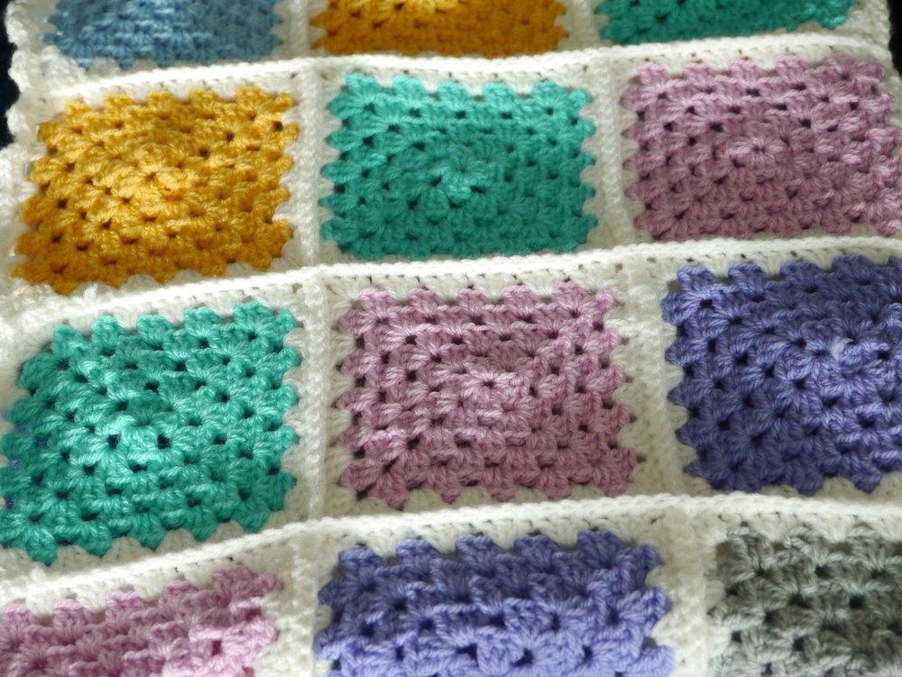 Granny square baby blanket — white heather barn