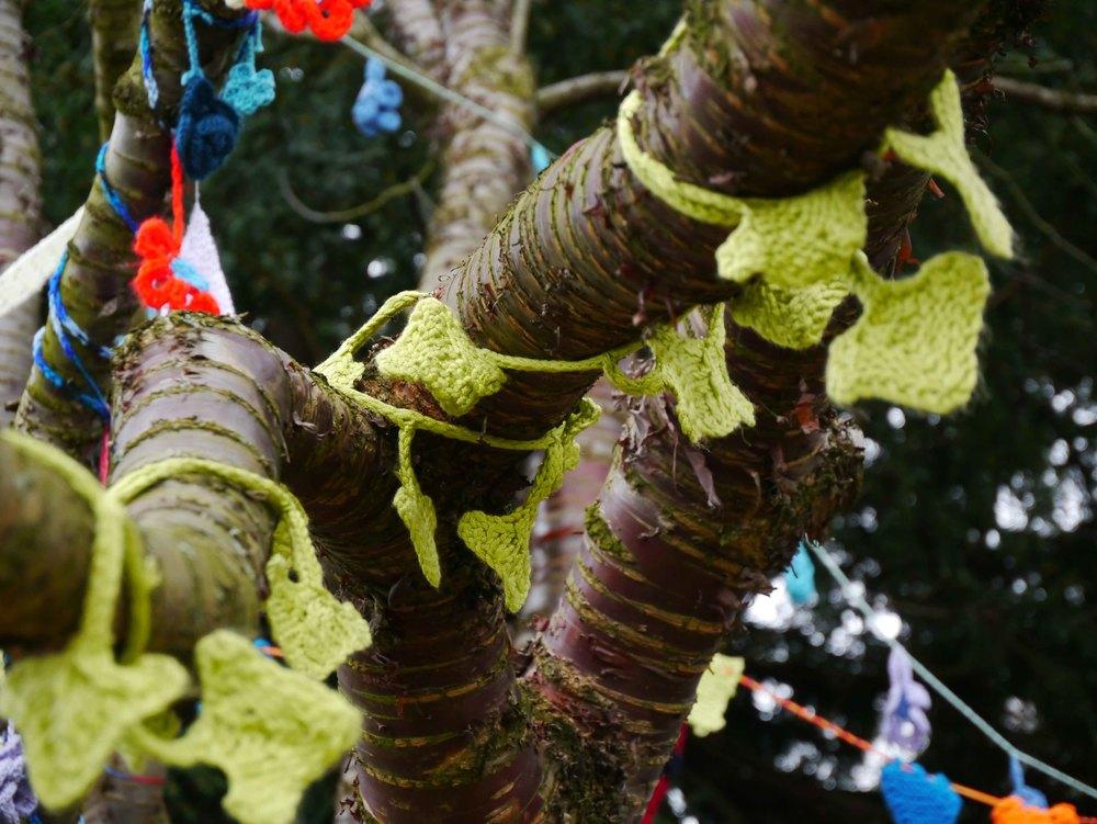 Yarn bombing in York Museum Gardens 2.jpg