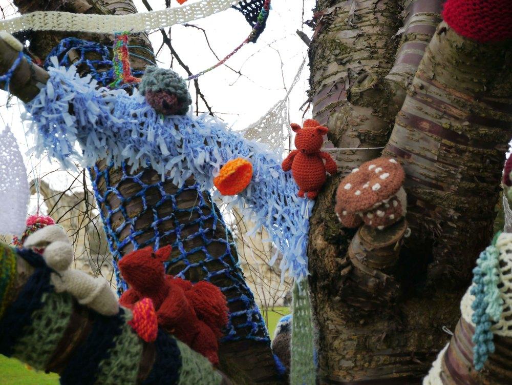 Yarn bombing in York Museum Gardens 3.jpg