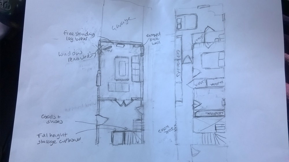My rough sketch of changes for the architect- not a measurement in sight. I think he despairs!
