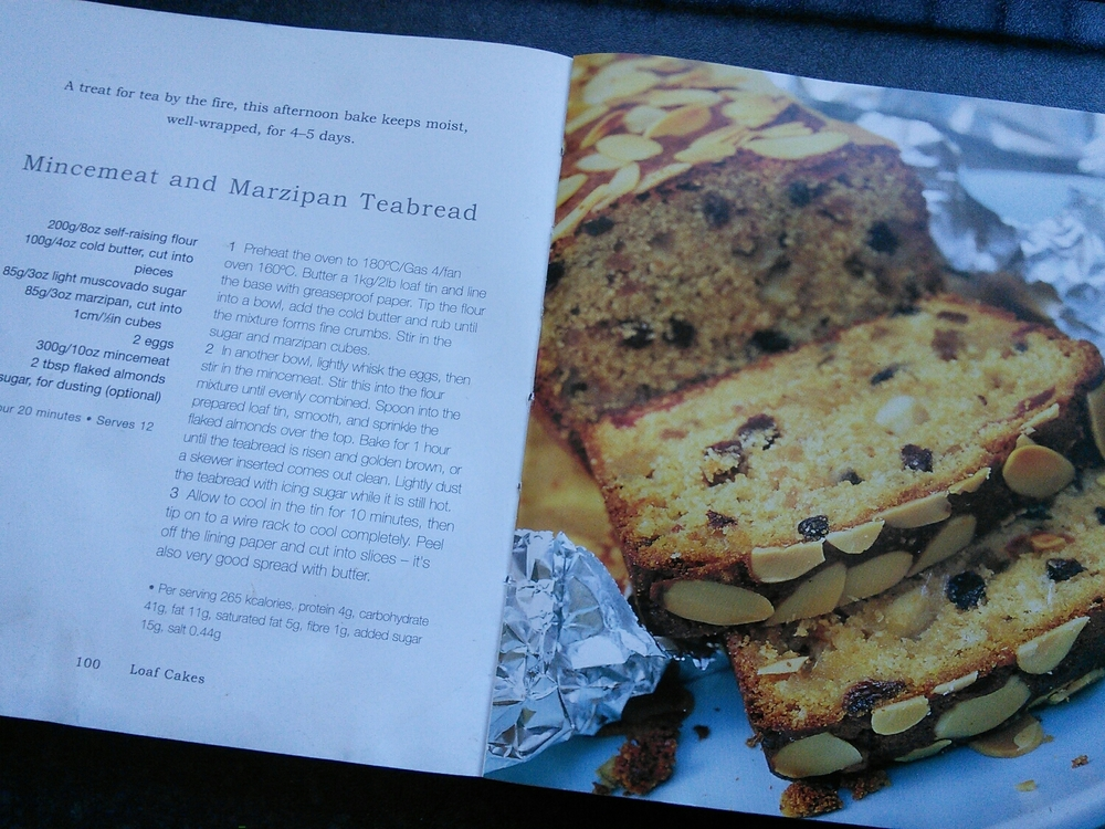Mincemeat and marzipan cake in the recipe book