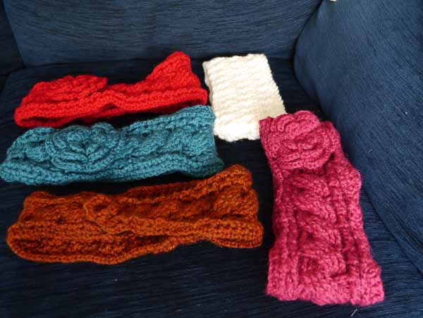Crochet 'aran' style headbands Jan 2016