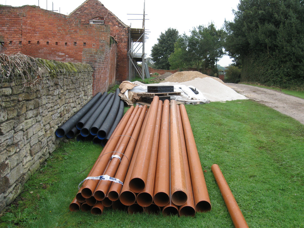 Sewer pipes ready to lay