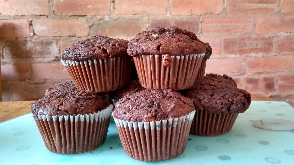 chocolate and banana sourdough muffins
