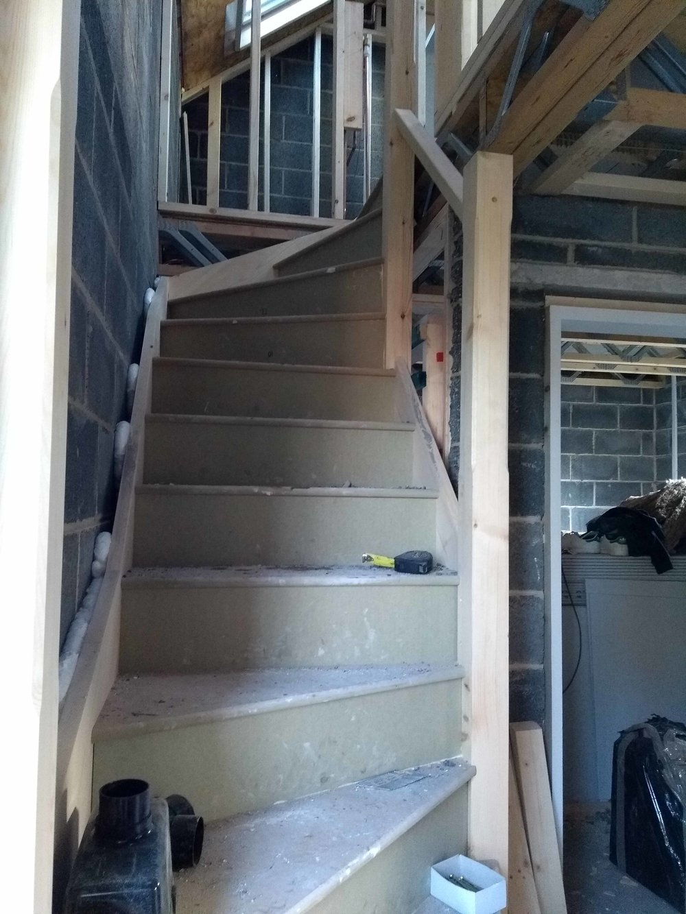 Stairs before plaster board