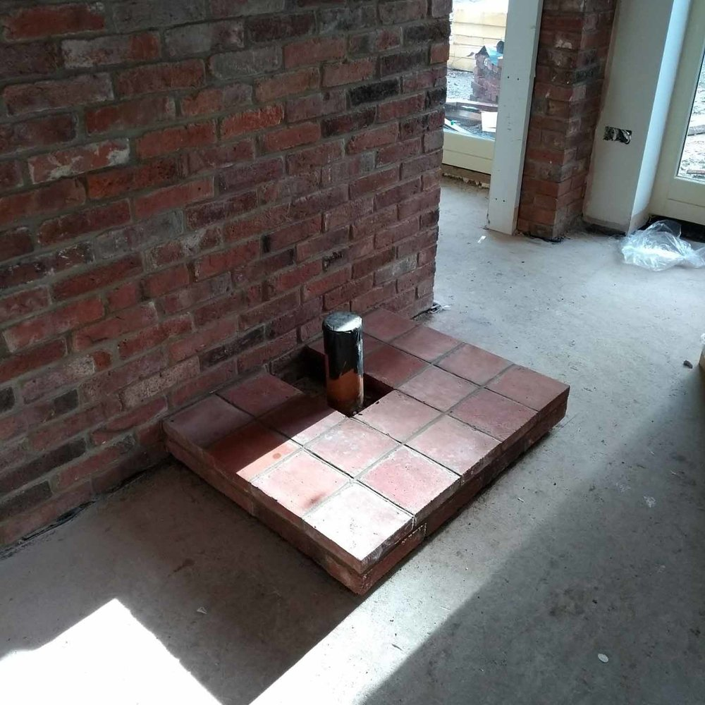 Reclaimed brick and quarry tile hearth