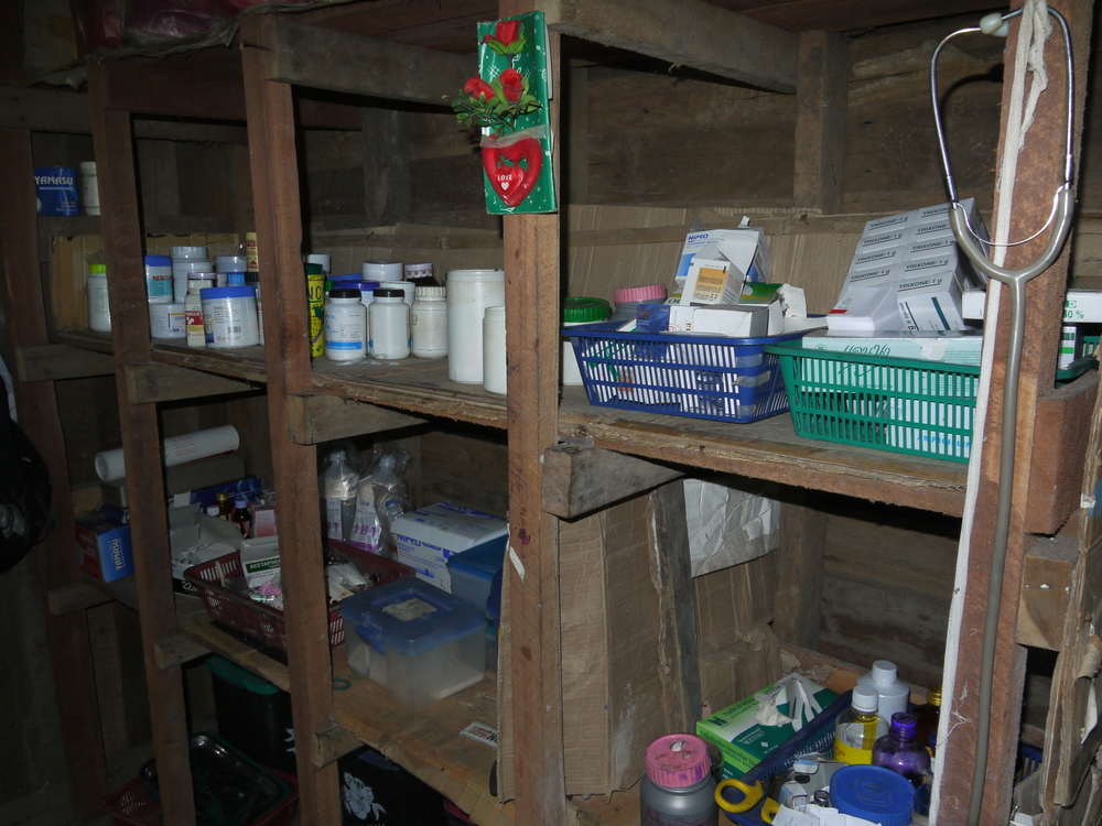 The rudimentary medical storage area