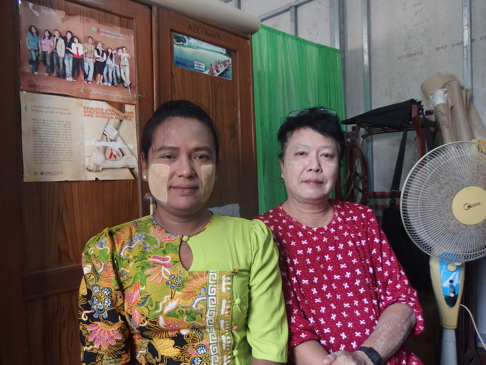 Ko Zaw, right, with her teaching assistant Ma Mya Aye