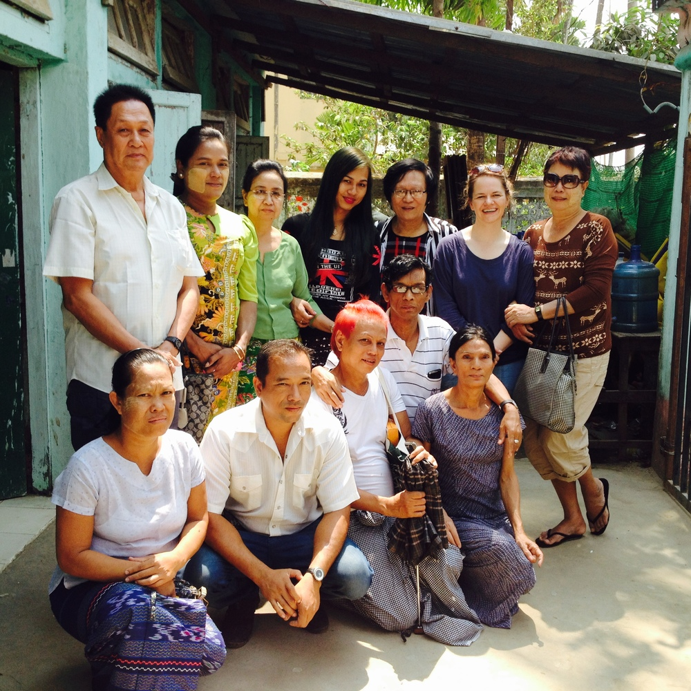 The Trust's founder Catherine Anderson with recipients of the Healthy Living Helping Society HIV project in Yangon, March 2015