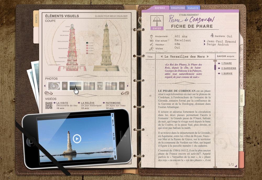 """Le projet PHARES possède sa propre interface proche de celle d'un jeu vidéo classique, avec des interfaces basées sur les documents utilisés par les """"Pharonautes""""..."""